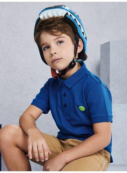 polo infantil azul manga curta d0307