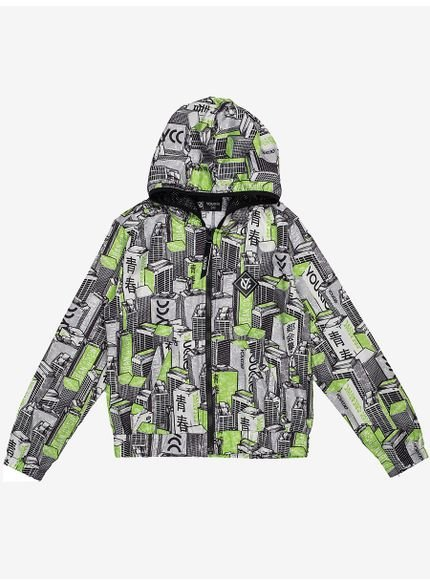 jaqueta corta vento infantil estampada predios