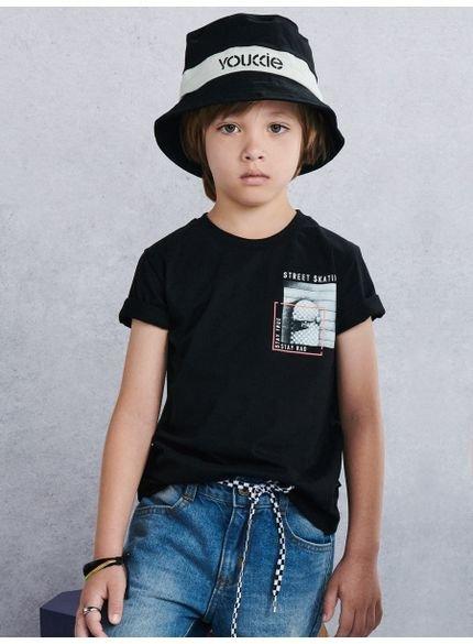 camiseta skate board preta infantil youccie