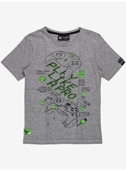 camiseta infantil masculina cinza play like youccie