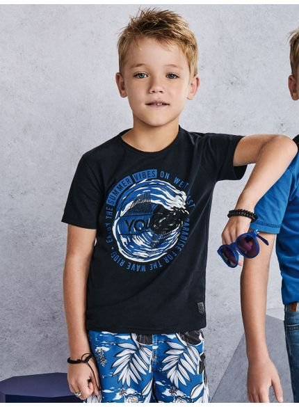 camiseta infantil masculino preta summer vibes look