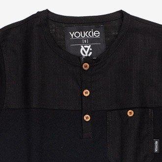 camiseta infantil com bolso preta listrada masculino
