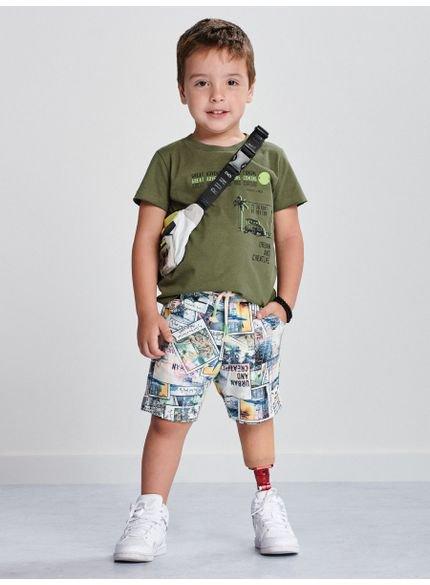 conjunto infantil verde militar masculino i0168 look