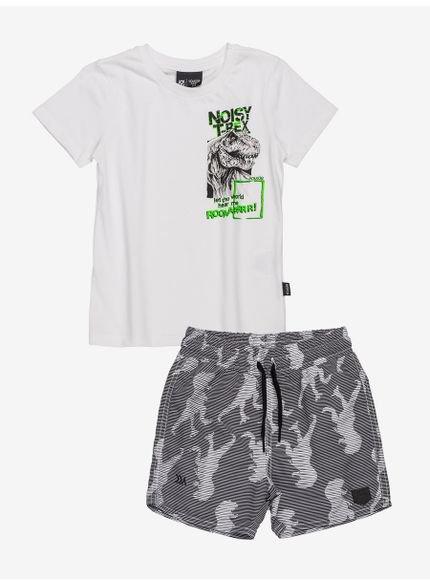 conjunto infantil manga curta dinossauro i0171