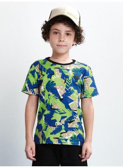 camiseta infantil estampada folhagem manga curta look