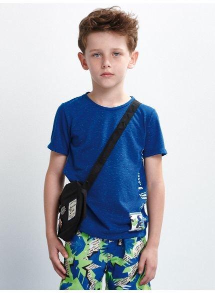 camiseta infantil malha azul manga curta look