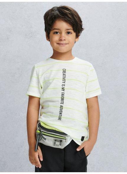 camiseta listrada neon infantil look