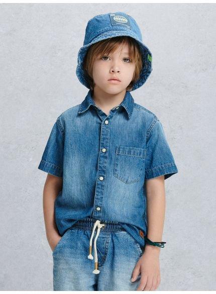 camisa infantil jeans manga curta look