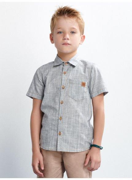 camisa infantil azul manga curta look
