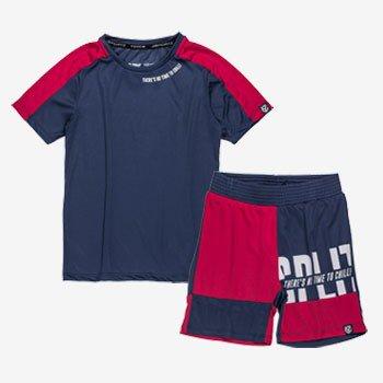 conjunto infantil esportivo marinho com vermelho d0208