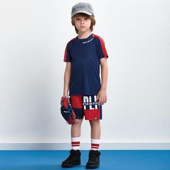 conjunto infantil esportivo marinho com vermelho d0208 look