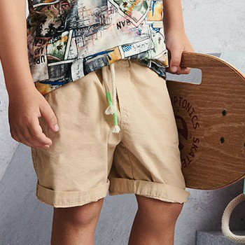 Bermuda Infantil Masculino Bege com Cadaro I0115