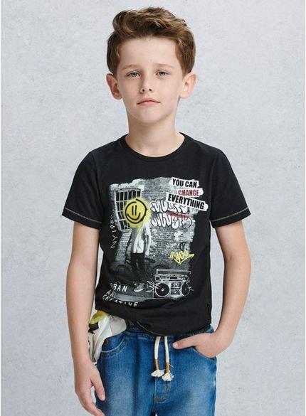 camiseta infantil masculina smile preta d0017 look