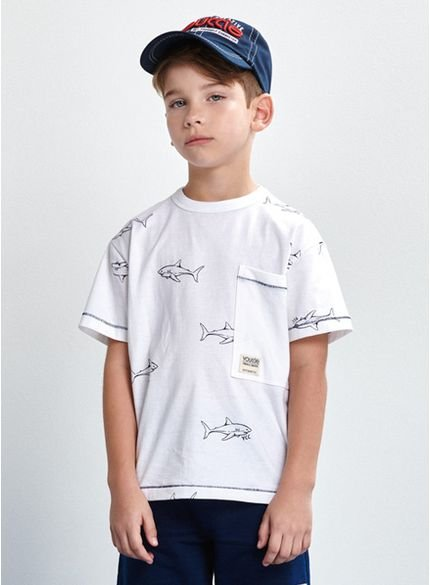 camiseta estampa tubarao infantil branca d0181 look