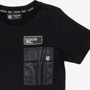 D0203 Camiseta Infantil Preta com Bolso