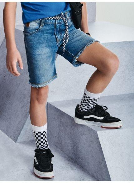 bermuda jeans infantil masculina barra desfiada youccie d0083