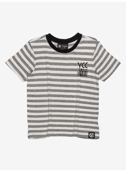 camiseta infantil listrada cinza masculina d0055 look