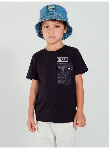 camiseta infantil preta com bolso youccie