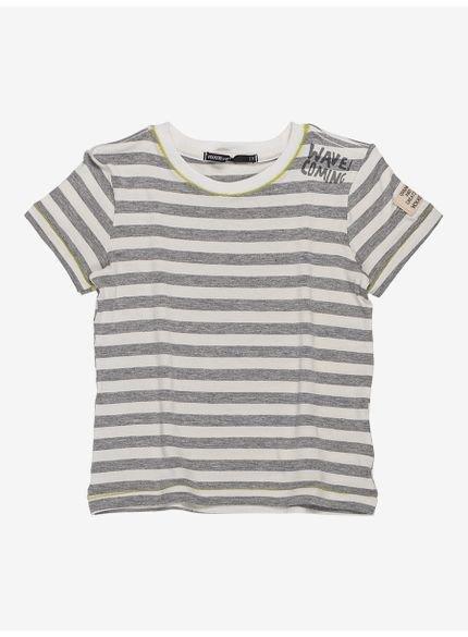 camiseta infantil masculina listrada cinza waves