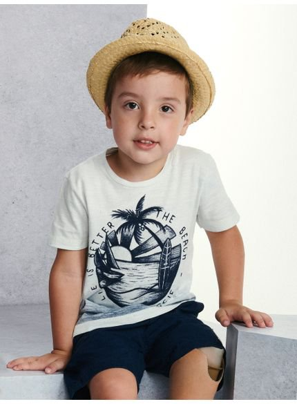 camiseta infantil masculina beach off white youccie