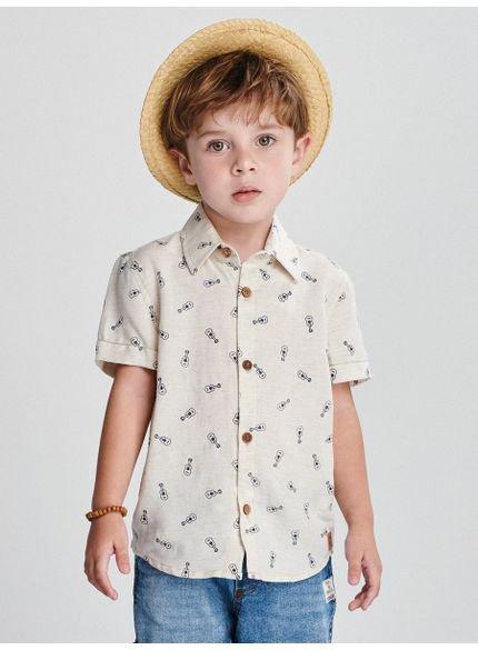 camisa infantil masculina violao bege youccie