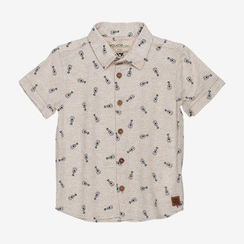 Camisa de linho Infantil Masculina Violao Bege youccie