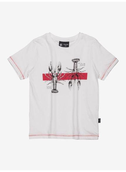 camiseta infantil branca estampa lagosta youccie still
