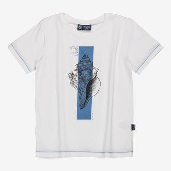 Camiseta Branca Infantil Estampa Concha detalhe