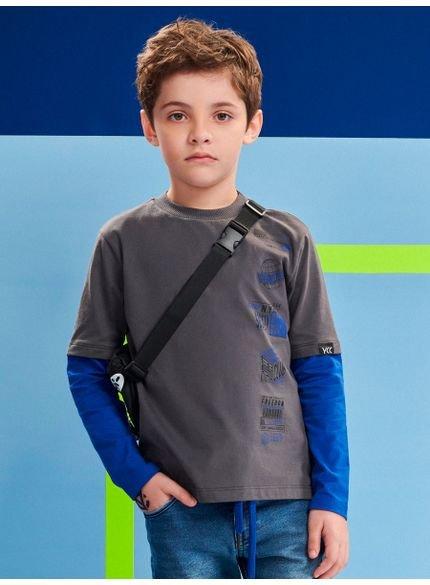camiseta infantil de manga dupla cinza youccie