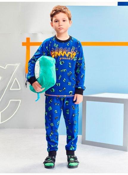 pijama infantil menino estampado azul youccie