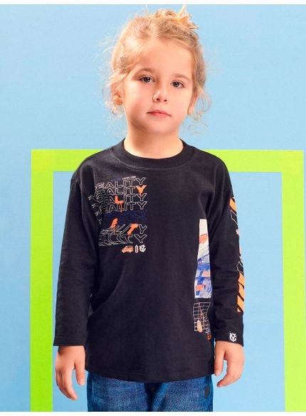camiseta infantil manga longa preta reality