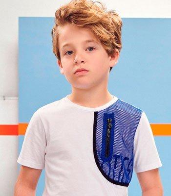detalhe camiseta Infantil Menino Recorte em Tela Youccie