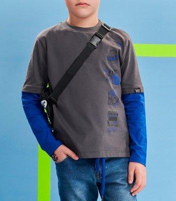 detalhe camiseta Infantil de Manga Dupla Cinza Youccie gola