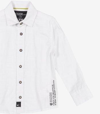 detalhe Camisa Social Branca Infantil Verano Flame