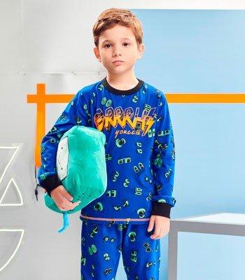 detalhe pijama Infantil Menino Estampado Azul youccie