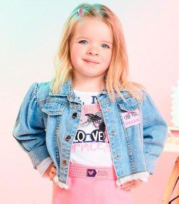 Jaqueta Jeans Infantil Feminina Barra Desfiada Momi J3434