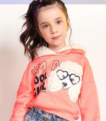 casaco moletom menina laranja poodle com pelinho momi f9750