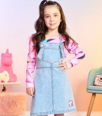 salopete jeans infantil feminino com bolso momi f9496