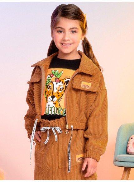 jaqueta infantil feminina de cotele caramelo momi