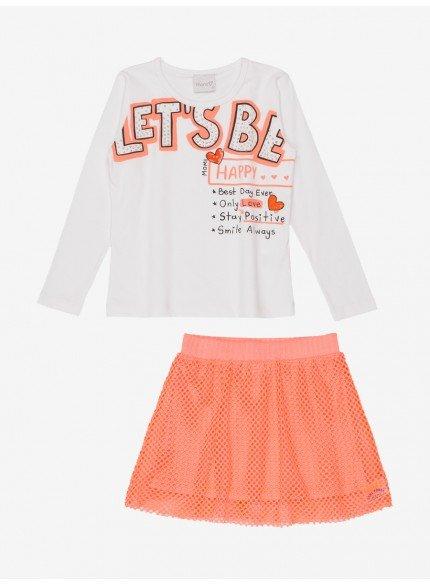 conjunto infantil menina saia de telinha laranja momi