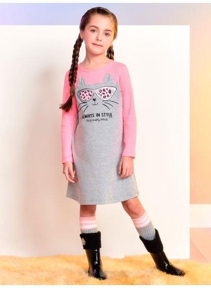 vestido de gatinho infantil feminino manga longa momi