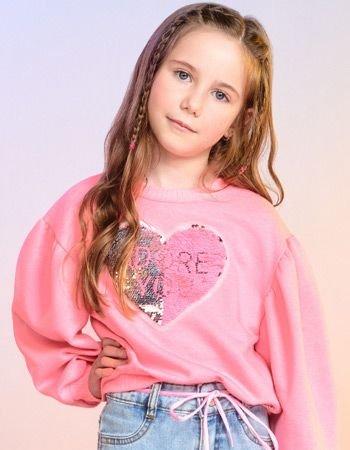 casaco de moletom infantil rosa manga bufante momi f9748