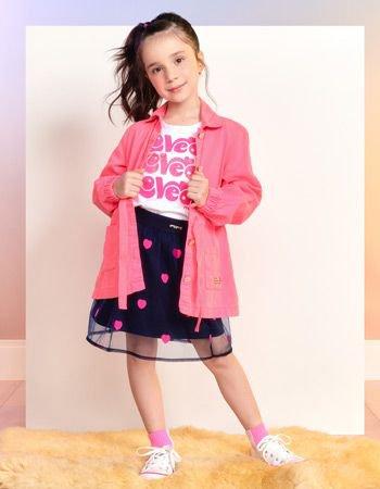 jaqueta parka infantil menina rosa com lacinho momi f9300