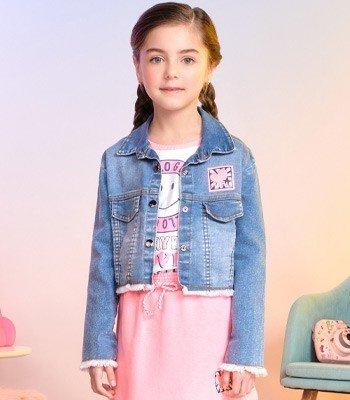 jaqueta jeans infantil menina barra desfiada momi f9355