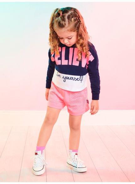 conjunto infantil menina de moletom believe momi