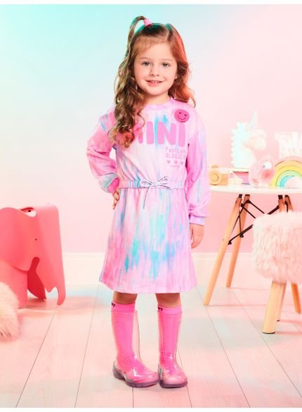 vestido infantil tie dye rosa mini fashion momi