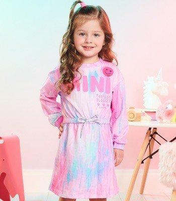 Vestido Infantil Tie Dye Rosa Mini Fashion Momi J3772