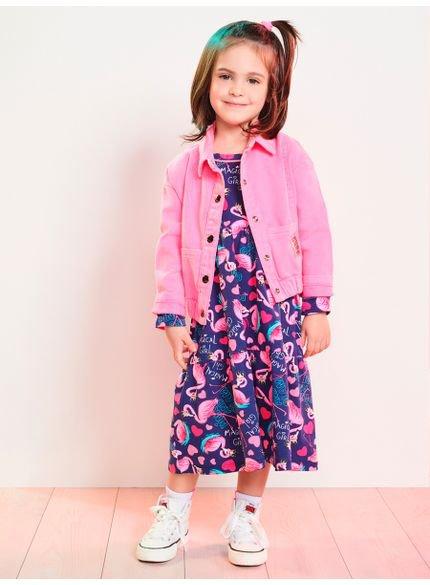 vestido infantil gode estampa flamingo momi