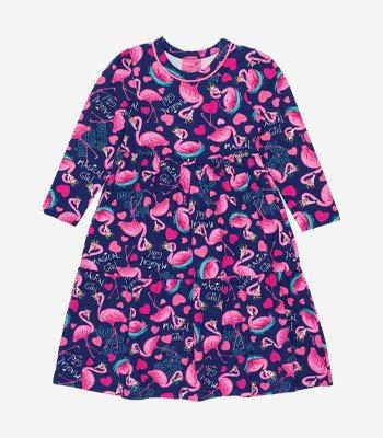 Vestido Infantil Gode Estampa Flamingo Momi J3743