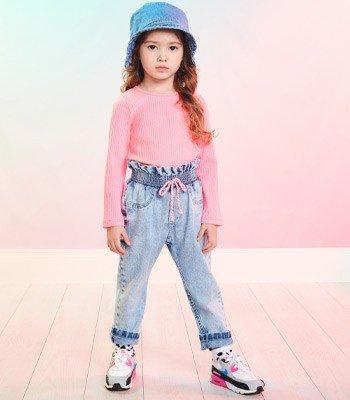 Calca Infantil Menina Jeans Clochard Momi J3730